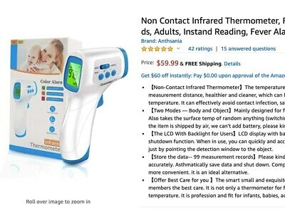 $ CDN33.56 • Buy LCD No Touch Forehead Thermometer