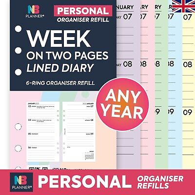 2021 Filofax Personal COMPATIBLE Week On Two Pages Lined Diary Refill Insert • 6.50£