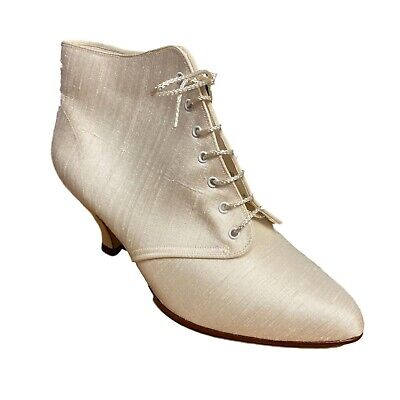 Bridal Ladies Womens Smart Casual Ivory Textile Silk Lace Up Mid Heel Size • 29.99£