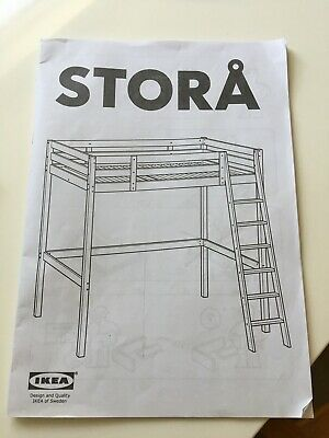 IKEA STORA White Solid Wood Pine Loft Style High Bed Double Bed With Ladder VGC • 110£
