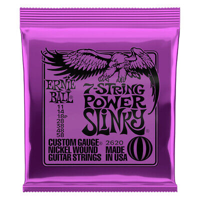 AU21.95 • Buy Ernie Ball Power Slinky 7-String Nickel Wound Electric Guitar Strings 11-58 Gaug