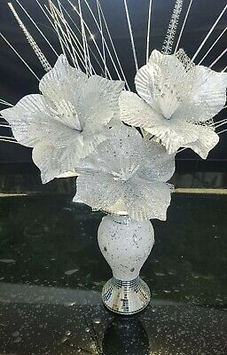 Bling Silver Modaiv Mirror Decorated 26cm Vase With Silver Flowers • 24.99£