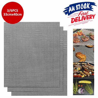 AU12.99 • Buy 3/6pcs Non-stick BBQ Grill Mat Pad Mesh Reusable Barbecue Cooking Sheet Liner AU