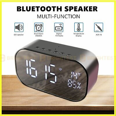 AU44.95 • Buy Bluetooth Speaker Alarm Clock With FM Wireless Mirror Display For Office Home
