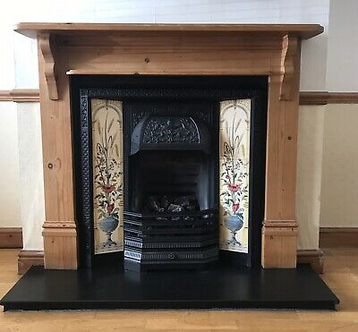 Cast Iron Victorian Style Tiled Fireplace - With Wooden Mantle Piece & Hearth. • 100£