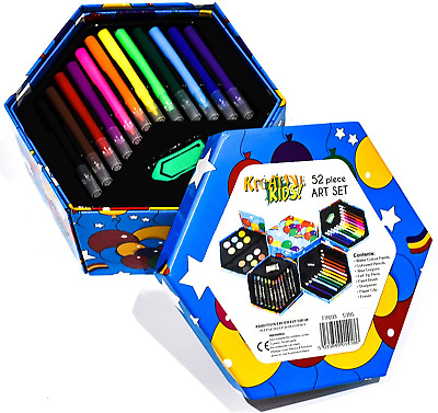 KandyToys 52 Piece Kids Art Set - Fold Out Box Of Art, Craft And Colouring For • 9.02£