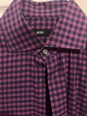$8 • Buy MENS Hugo Boss Button Down SHARP FIT Purple And Black  SIZE 15 1/2   34/35