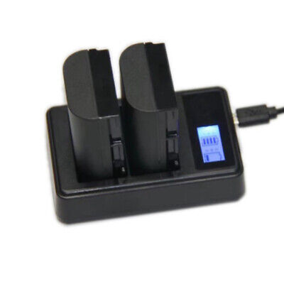 Dual Battery Charger With USB Black LCD Display For Canon LP-E6 EOS 5D 7D Mark • 6.33£