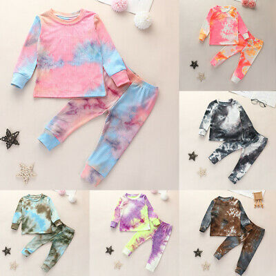 Toddler Baby Kids Girls Boys Tie Dye Set Long Sleeve T Shirts Tops Pants Outfits • 11.99£