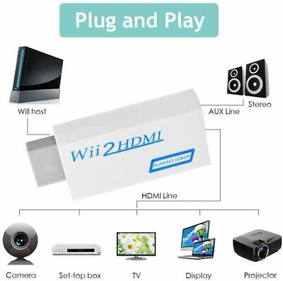 Wii Input To HDMI Converter Adapter 1080P HD Audio Output Cable 3.5mm Jack Lead • 3.26£