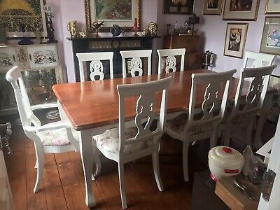Shabby Chic French Chateau Farmhouse Table With 2 Carvers And 6 Chairs • 170£