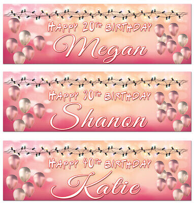 £3.99 • Buy 2 Personalised Birthday Banner Balloon Rose Gold Pink Girl Hen Party Poster