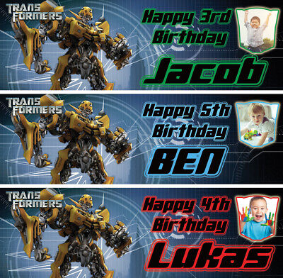 £3.99 • Buy 2 X Personalised Transformers Photo Birthday Banner Children Bumble Bee Party