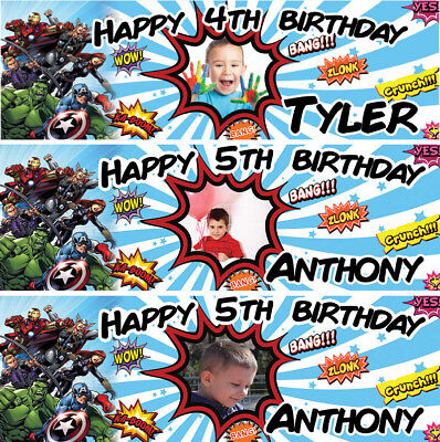 2 X Personalized Birthday Banner Photo Avengers Super Heroes Kids Boy Party • 4.99£