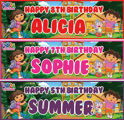 2 X Personalised Dora The Explorer Birthday Banner Party Children Any Name Age • 3.99£