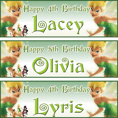 £3.99 • Buy 2 Personalized Birthday Banner Fairy Tinker Bell Children Kid Girl Party Poster
