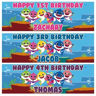 £3.99 • Buy 2 X Personalized Baby Shark Birthday Banner Kids Nuersry Children Party Poster
