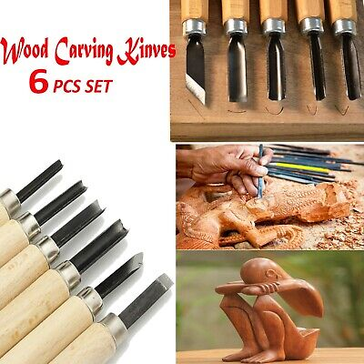 £3.10 • Buy 6 Pcs Wood Carving Knife Kit Woodworking Whittling Cutter Chip Hand Tool Cut HQ