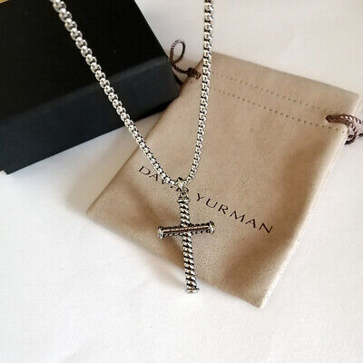 $185 • Buy David Yurman Box Chain Necklace Sterling Silver Cable Cross Pendant Necklace 28
