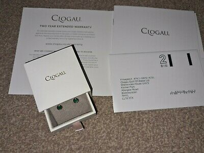 NEW Welsh Clogau Silver & Rose Gold Emerald May Birthstone Earrings • 45£