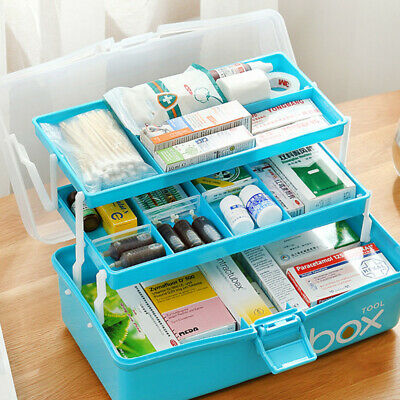 £9.99 • Buy 3 Tier First Aid Medical Emergency Kit Case Family Medicine Storage Box Portable