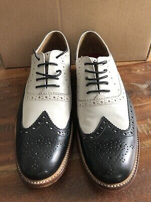 Grenson Two Tone Black And White Brogues Size 6 F New • 100£