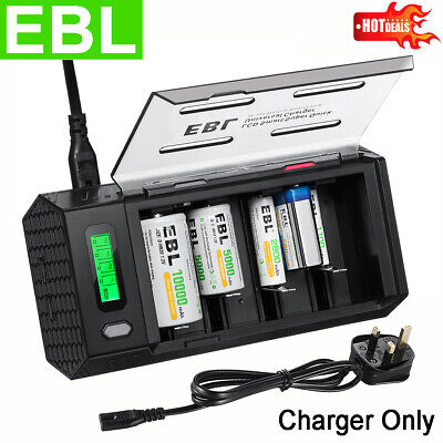 EBL LCD Smart Battery Charger For AA AAA C D 9V NiMH NiCD Rechargeable Batteries • 15.59£