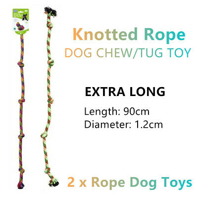 AU19.99 • Buy 2x Extra Long Knotted Rope Dog Chew Tug Toys 90CM Play Interactive Puppy Pull