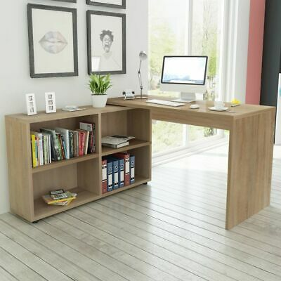 AU293.95 • Buy Corner Home Office Desk With Bookcase Workstation L-Shape Writing Computer Table
