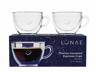 Espresso Glass Cups, Double Walled Coffee Glasses, Set Of 2 X 80ml By Lunae • 14.95£