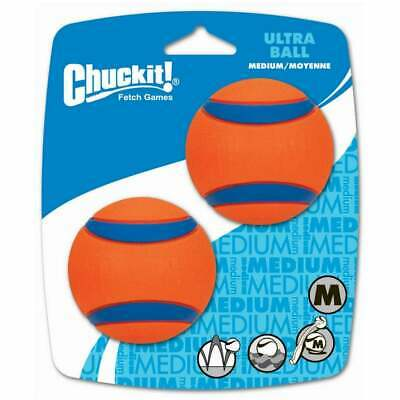Chuckit Ultra Ball 2 Pack Medium Tough Rubber Durable Dog Puppy FAST DELIVERY • 8.15£