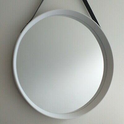Large Round Deep Frame Mirror With Faux Leather Strap White Wall Hanging Mirror  • 24.50£