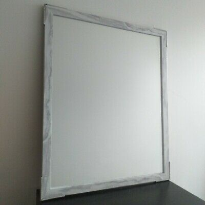 £18.99 • Buy Large White& Grey Marble Effect Wall Mirror Hallway Living RoomRectangle Mirror