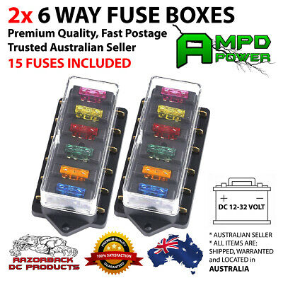 AU18.95 • Buy 2Pcs 6 Way Blade Fuse Box Block Holder ATC 12V/24V Car Marine *Fast Postage