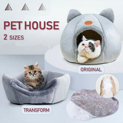 Igloo Cat Bed Soft Pet House Dogs Bed Puppy Basket Cushion Mat Kitten Cave Sofa • 10.99£