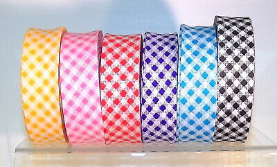 £1.50 • Buy Clearance! Gingham Bias Binding Tape Polycotton 25mm (1 ) Wide 6 Bright Colours
