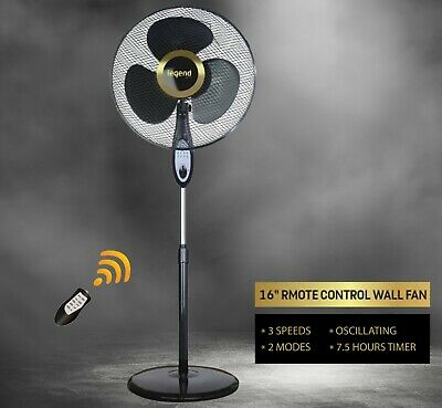 £29.79 • Buy Fan Air Cooling Oscillating Pedestal 16  Fan Floor Standing  Remote Round Base