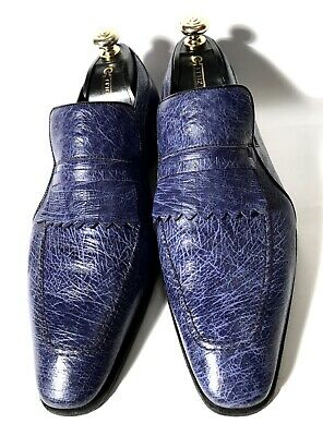 $ CDN934.07 • Buy Artioli Blue Ostrich Leather Shoes Loafers Size 44, UK-10, US-11