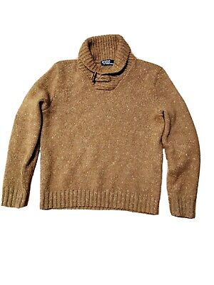 AU25 • Buy Polo Ralph Lauren Wool Blend Jumper, Brown With Elbow Patch, Men's Size Size M,