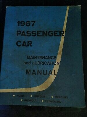 $7 • Buy 1967 FORD Lincoln Mercury Passenger Car Maintenance And Lubrication Manual