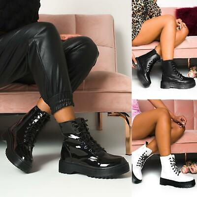 £22.99 • Buy Womens Ladies Chunky Lace Up Ankle Boots Platform Icon Retro Punk Goth Black New