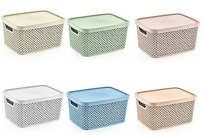 £12.99 • Buy Small Large Diamond Plastic Storage Box With Lid Container Office Kitchen Home