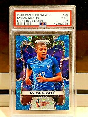 $ CDN5018.25 • Buy 2018 World Cup Prizm KYLIAN MBAPPE RC Light Blue Lazer /125 Rookie PSA Mint #80