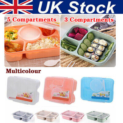 Lunch Box Wheat Straw Microwave Bento Food Container Box 3/5-Compartment UK • 7.88£