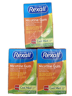 $ CDN70.91 • Buy Rexall 4mg Nicotine Gum 20 Pieces Cool Mint Exp 04/21 Stop Smoking Aid Lot Of 3