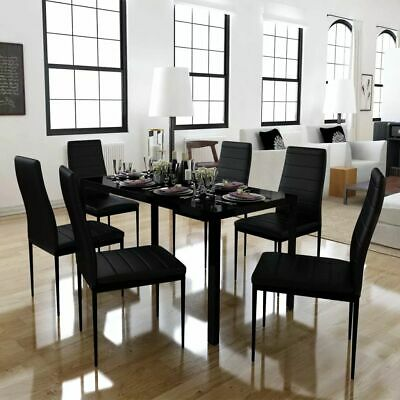 AU322.95 • Buy 7 Pcs Dining Table Set Modern 6 Seater Glass Tabletop Faux Leather Chair Black
