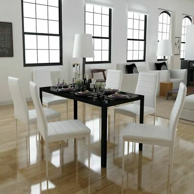 AU263.95 • Buy 6 Seater Dining Table And Chairs 7 Pcs Set Faux Leather Seat Kitchen Furniture