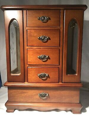 AU36 • Buy Wooden Jewellery Cabinet Large 2 Doors Ring Drawers  NO RESERVE