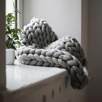 £29.95 • Buy Stylish Soft Chunky Cable Knit Hand Woven Sofa Bed Chair Blanket Throw