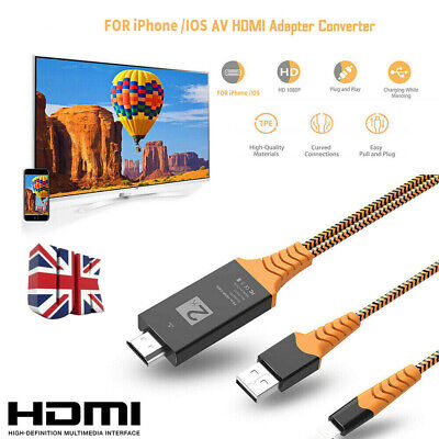 Lighting Connect To HDMI TV AV Cable Adapter 2M For IPhone 6S 7 IPad Air • 7.78£